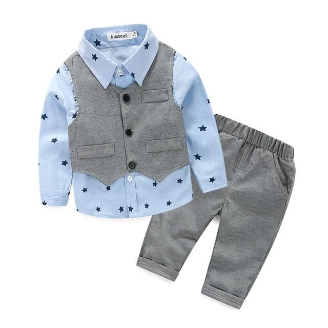 Baby Boys clothing set Gentleman Suits Infant Newborn Baby Clothes Sets Kids Waistcoat+Shirt+Pants Children Suits