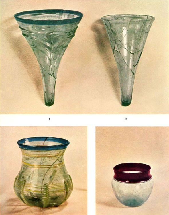Glasses from Birka, graves 577, 649, 644, 10th century, Historiska Museet, Stockholm