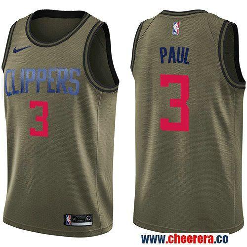 42c32d21f90 Men s Nike Los Angeles Clippers  3 Chris Paul Green Salute to Service NBA  Swingman Jersey