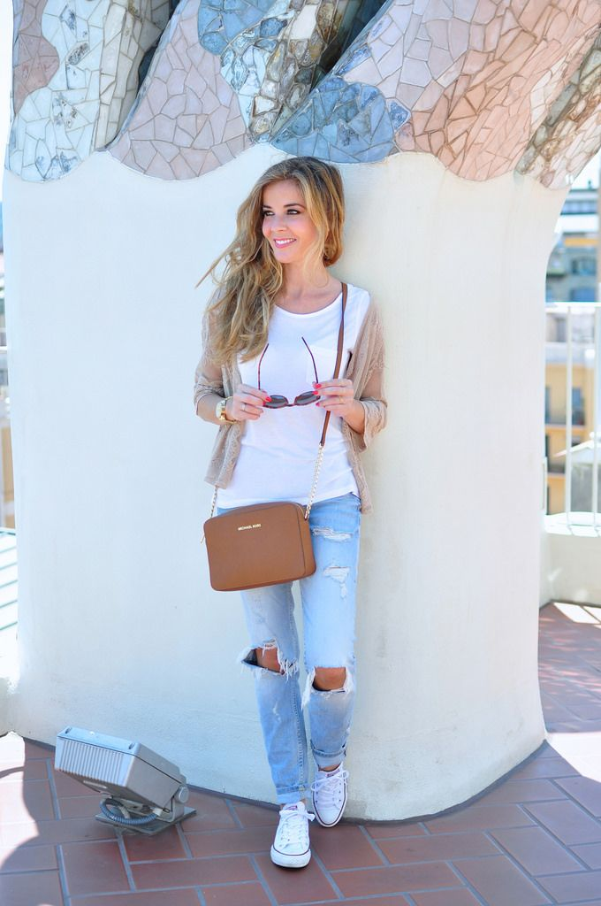 Ripped jeans, Michael Kors bag, converse and lace cardigan