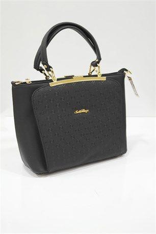 Taş Detaylı Çanta - Siyah - SDS çanta modelleri, sırt çantası, yılan derisi, tutmalı çanta, çanta markaala.com.tr #moda #fashion #diy #tesettür #çanta