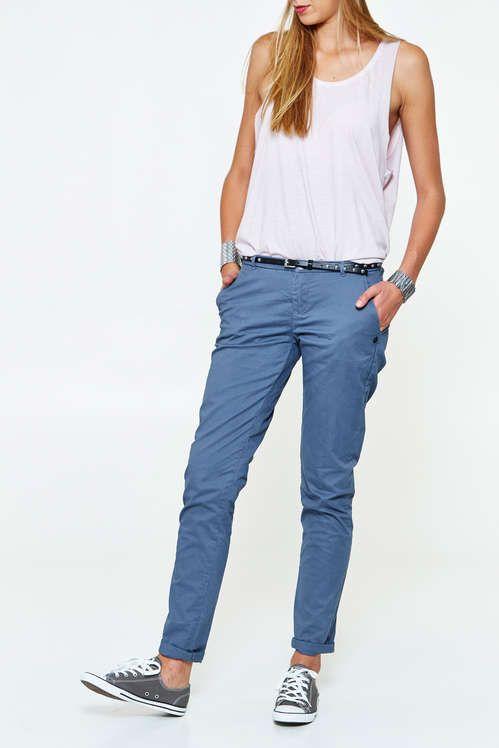 pantalon chino maison scotch bleu gris femme pantalon pret a porter femme