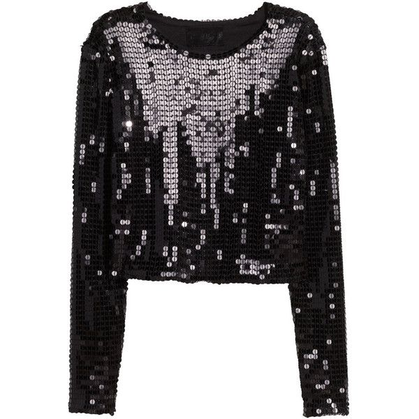 H&M Sequined crop top (£20) ❤ liked on Polyvore featuring tops, black, sequin crop tops, long sleeve tops, long sleeve jersey, sequin top and long sleeve sequin top