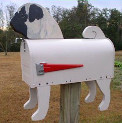 Unique Handmade Pug Dog Mailbox