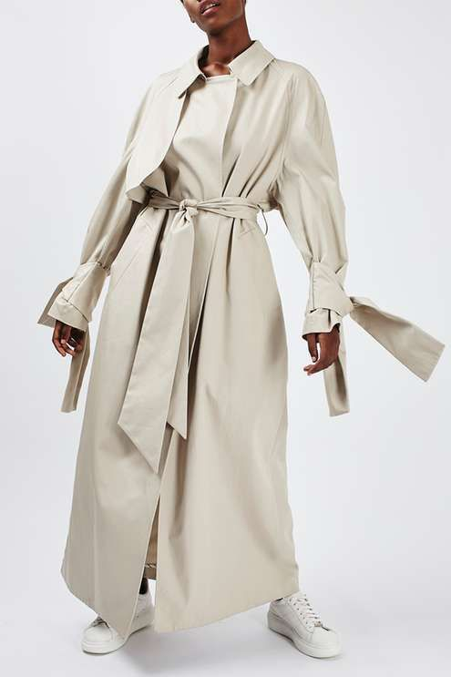 Tie Sleeve Trench by Boutique