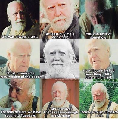 My favorite quote from TWD is Christ promised resurrection of the dead i just thought he had something a little different in mind.