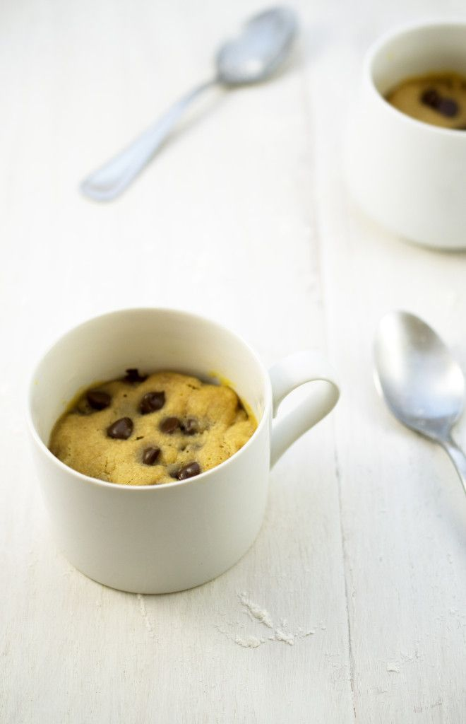 Peanut Butter and Chocolate Chip Cookie in a Mug. This dessert takes less than 5 minutes to make and can be cooked in the microwave not the oven. www.chefsavvy.com #dessert #recipe #cookie