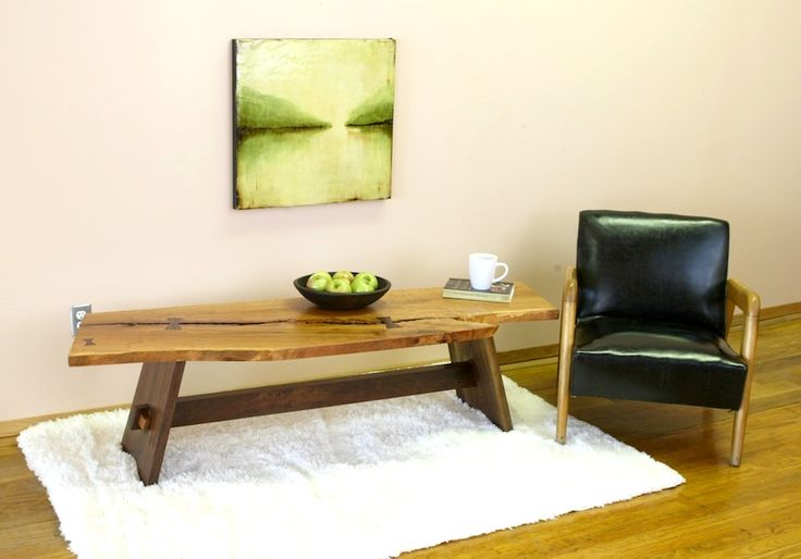 Wooden Coffee Tables - Solid wood futon couch (queen sleeper), chair (twin sleeper) with matching ottoman