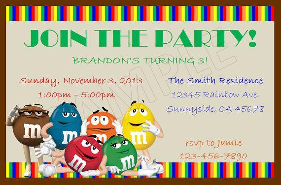 M&M's Birthday DIY Custom Invitations | M&M birthday party ...