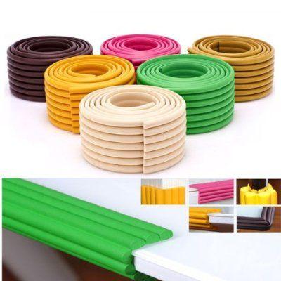 Vktech® 2Stk. 2mx 8cm Baby Schaumstoff Kantenschutz Eckenschutz Sicherheit mit Klebeband DIY Basteln Werkzeug (Gelb)