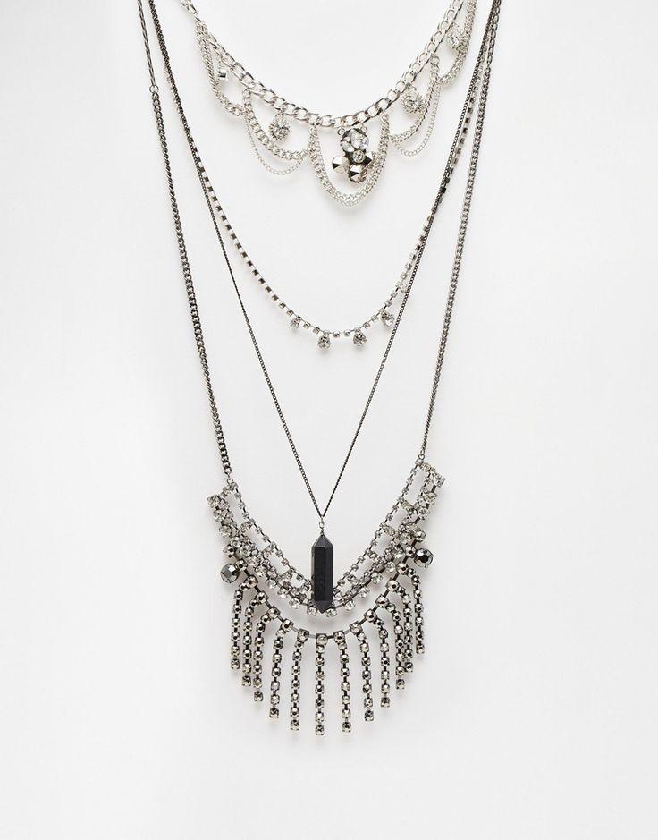 ASOS Statement Choker Multirow Chain Necklace