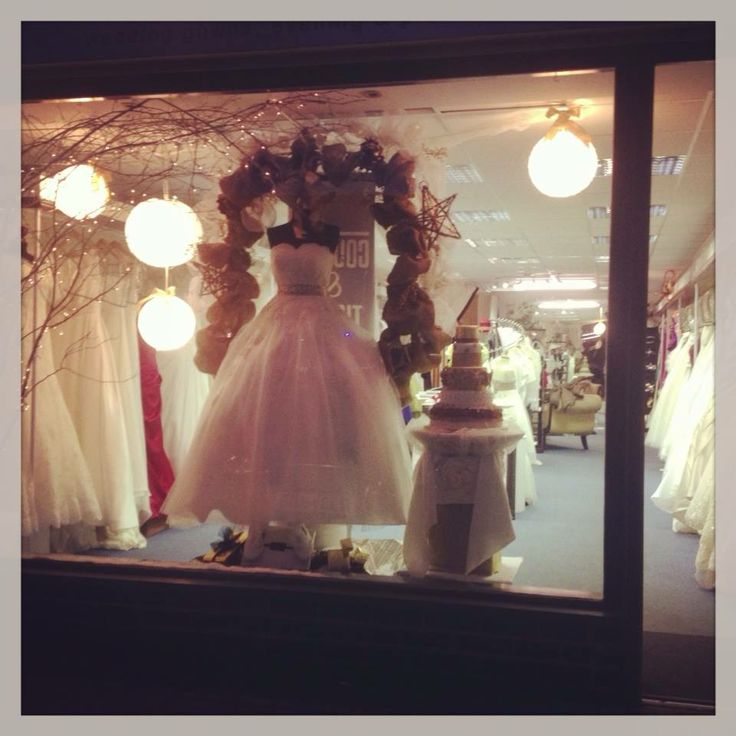 Couture & Tiaras bridal shop christmas window display