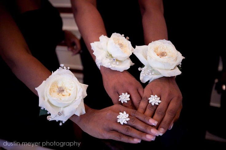 Composite Rose Wrist corsages for Bridemaids...a modern to twist instread of a traditional bouquet.  By The Flower Studio in Austin, TX