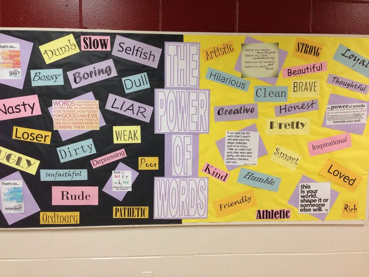 Counselor bulletin board, week of respect, power of words, bullying
