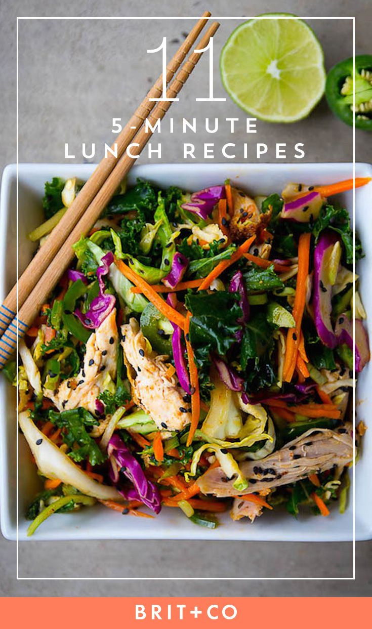 Make a healthy lunch with these quick and easy recipes. All 5-minute lunch recipes are fresh and flavorful.