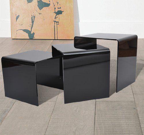 Black Nesting Table Design #nestingsidetables Side Tables #moderndesign Living  Room Design #modernlivingroom The