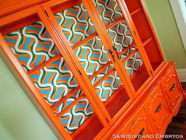 Orange china cabinet
