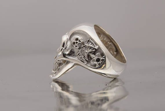 Skeleton Silver Ring, Skull mens ring.  ALL RING SIZES AVAILABLE.  Jewelry workshop ring, offered in yellow gold or black rhodium finish.  Check our etsy shop presentation.  Man skull ring. Mens gothic jewelry. Gothic ring.