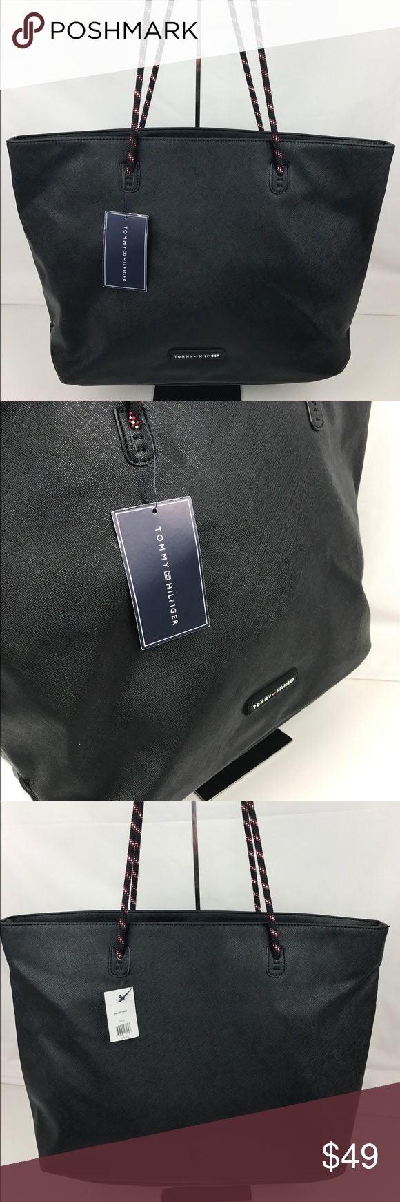 """Tommy Hilfiger Sport Large Tote Authentic. New with Tag  Pack your essentials in style when you're on the go with this sporty-sleek tote from Tommy Hilfiger, featuring a roomy interior. Large sized bag; 17-1/2""""W x 13""""H x 5""""D. 9""""L bungee cord double handles. RB807  Thank you for your interest!  PLEASE - NO TRADES / NO LOW BALL OFFERS / NO OFFERS IN COMMENTS - USE THE OFFER LINK :-) Tommy Hilfiger Bags Totes"""