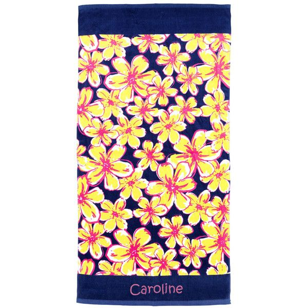 princess linens navy floral beach towel 21 liked on polyvore featuring - Beach Towels On Sale