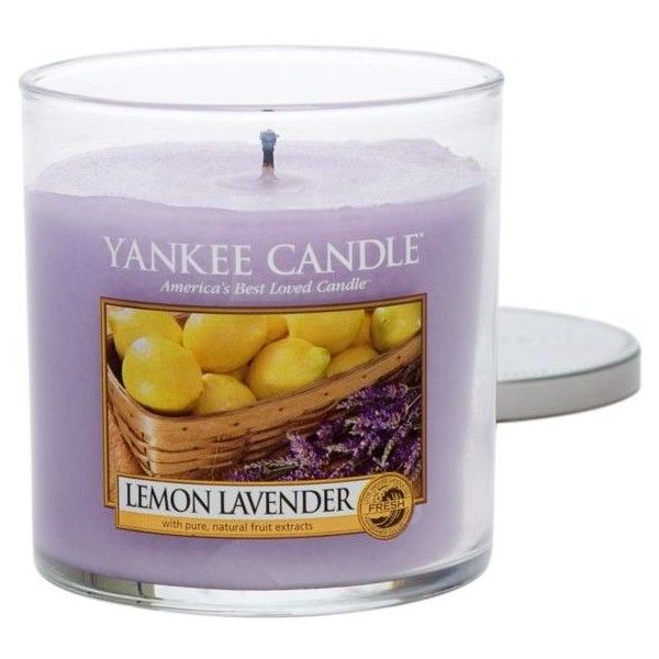 Yankee Candle Lemon Lavendar Lemon Lavender Tumbler Candle ($16) ❤ liked on Polyvore featuring home, home decor, candles & candleholders, lemon lavendar, colored candles, lilac scented candles, citrus scented candles, flower home decor and lavender candle