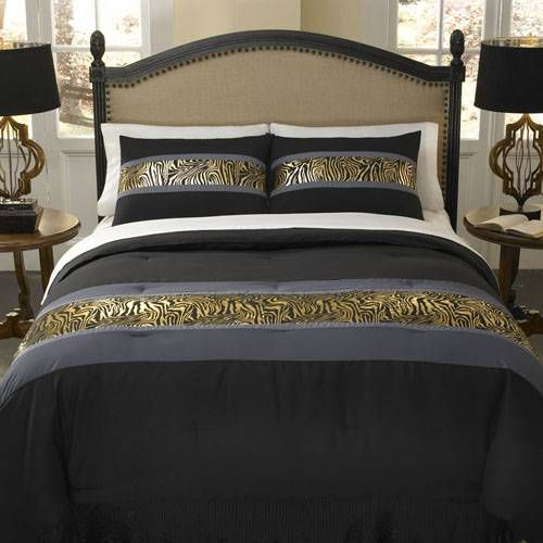 a contemporary zebra bedding ensemble in metallic gold slate grey and jet black the divatex. Black Bedroom Furniture Sets. Home Design Ideas