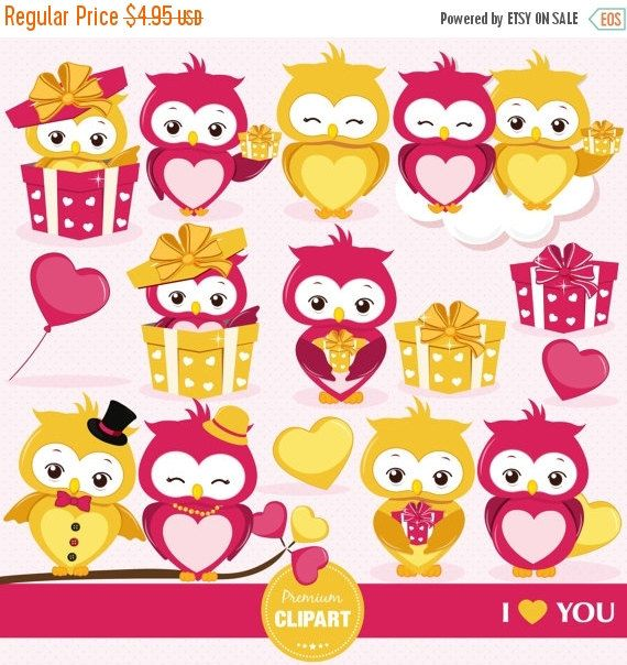 70% OFF SALE Valentine owls clipart, Valentines day clipart, Valentine clipart, Love birds, Bird clipart, Love birds clipart - CA342 by PremiumClipart on Etsy