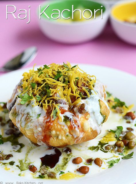 raj-kachori Maida/ All purpose flour 1 cup ceroti / fine semolina* 1/4 cup Corn flour 1 tsp Oil 2 tblsp Salt As needed Oil for deep frying * Optional Other ingredients for making raj kachori Potato 1 or 2 Kabuli channa(brown chickpeas) 1/2 cup Whole green moong 1/2 cup Curd 1 cup Sugar 1 tsp Papdi* 5-6 Green chuntey Sweet chutney Sev Coriander leaves, Chaat masala* Red chilli powder