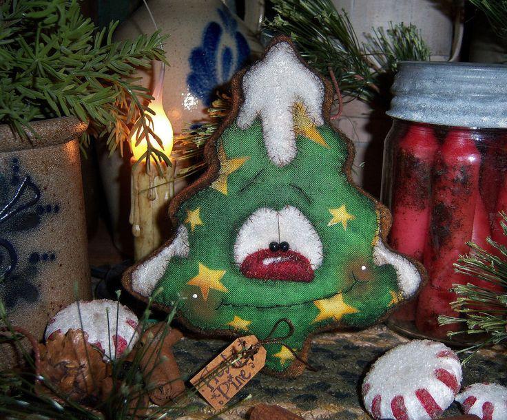 Primitive Patti's Ratties Gingerbread Christmas Tree Ornament Snowman Bear Doll