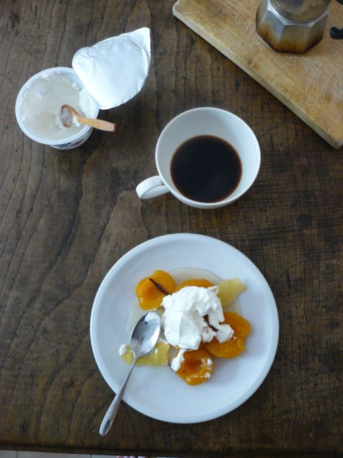 Poached apricots in spiced syrup