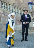 Estelle with her parents on National Day.Crown Princess Victoria, Princess Daniel, and Princess Estelle of Sweden, on National Day.