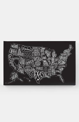 Love this map (and the lettering. really love all these fonts.) Basic Grey Black Tie US Map Canvas Wall Art
