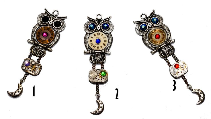Steampunk Tibetan Silver Owl Pendant with Watch Movement. Choose 1. Hand Made in Cornwall, UK by thelongwayround on Etsy