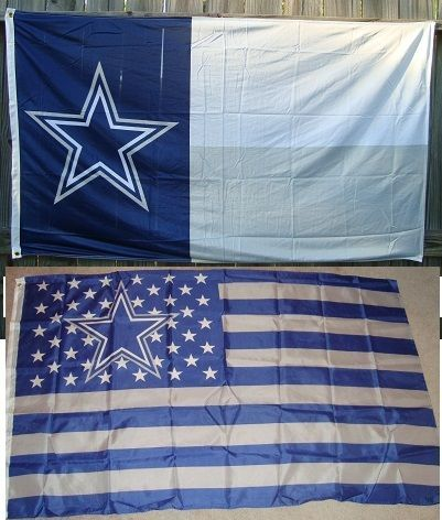 DALLAS COWBOYS LONESTAR TEXAS FLAG **AND** NATION FLAG NEW IN PACKAGE 3' x 5'