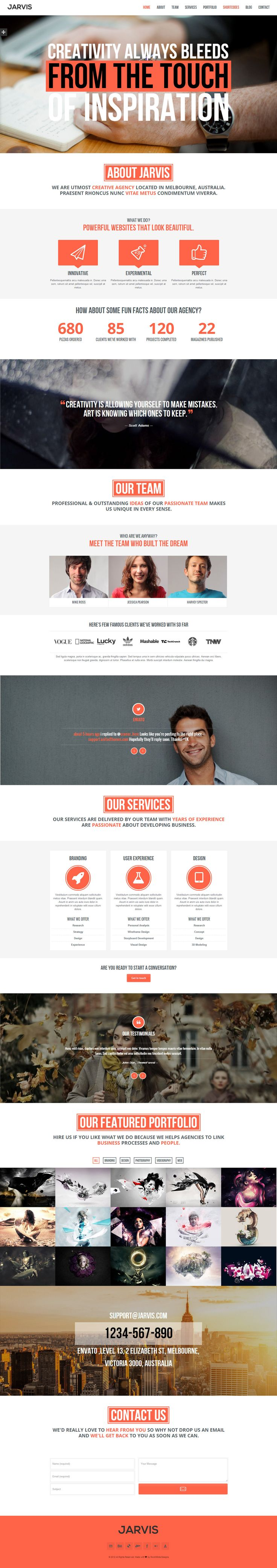 Jarvis - Onepage Parallax WordPress Theme #webdesign #web #design #template #inspiration #portfolio