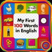"""""""Mine første 100 ord på engelsk"""" er designet til førskole børn, der er lige begyndt at læse deres første ord. App er blevet skabt med mest kendte billeder, som gør børnene til at tale disse billeder nemt. Børne får kendskab til grundlæggende 100 ord sammen med udtalen, vil børne have tillid til, når de taler."""