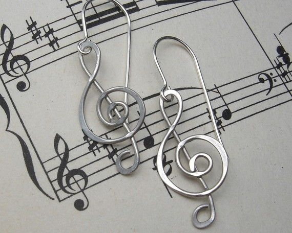 Treble Clef Earrings G Clef Musician Gift by nicholasandfelice