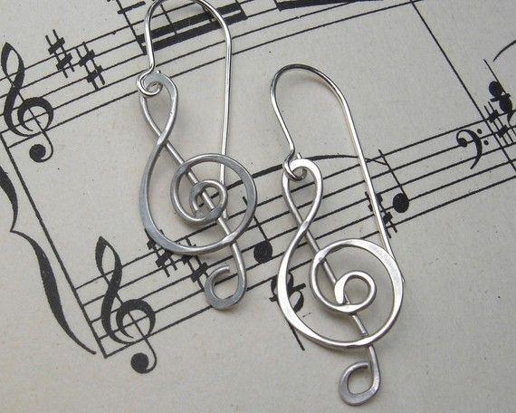 """Earrings   Nichola & Felice Designs. """"Treble Clef""""  Sterling Silver Wire"""