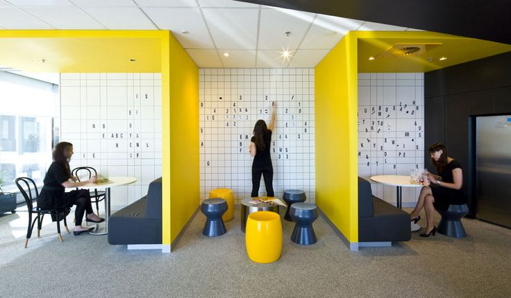 Break up the alcove area at the back of the office into two/three work zones?