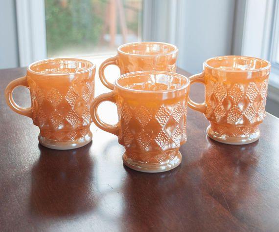 4 tasses orange Fire King Kimberly orange vintage orange
