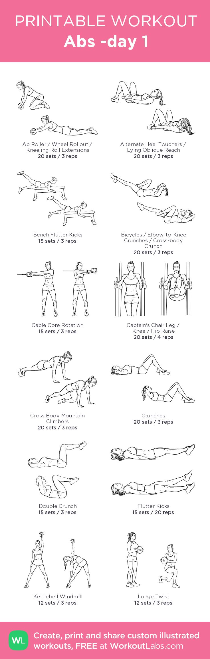 Abs -day 1: my visual workout created at WorkoutLabs.com • Click through to customize and download as a FREE PDF! #customworkout