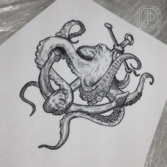 angry octopus drawing - photo #37