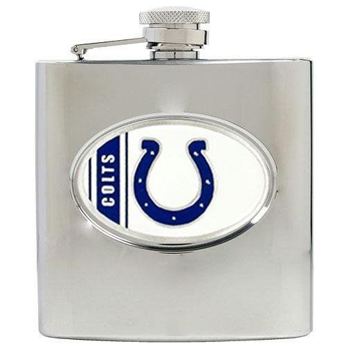 """Indianapolis Colts NFL 6oz Stainless Steel Hip Flask by Great American Products. $59.99. It makes a great gift for you or a loved one. It measures approximately 3 3/4"""" x 4 1/2"""" (95.2 x 114.3mm). This is a new NFL Indianapolis Colts stainless steel hip flask 6oz. This is an officially licensed NFL product. Enjoy your favorite beverage while showing team spirit. This Officially Licensed flask is decorated in the team colors and proudly displays hand-crafted metal e..."""