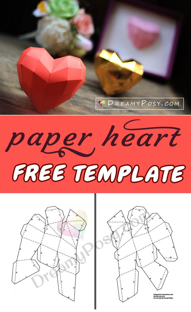 graphic about Free Printable Paper Crafts called Cost-free template towards create paper 3D center for your Valentine