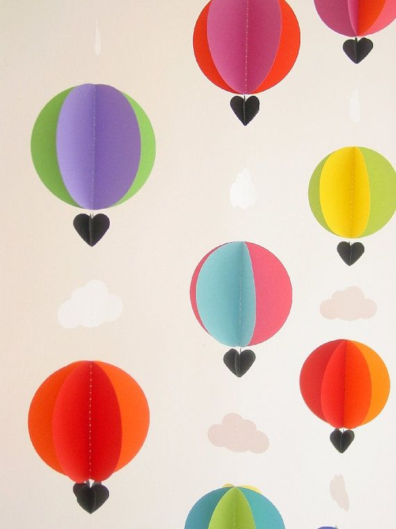 Garland-Hot Air Balloons  Clouds-3D-Crib Mobile-Baby-Nursery Decor-Kids Room-Children-Bright Colours