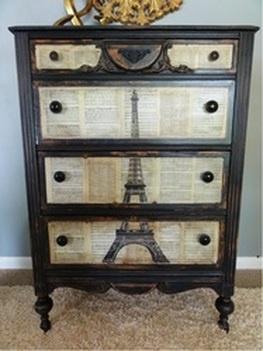 #Decoupage Eiffel Tower Dresser.