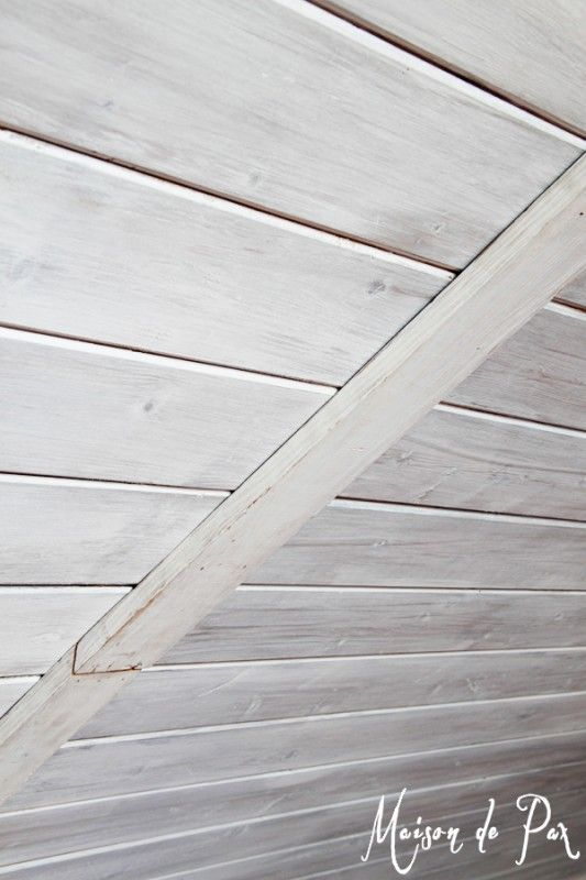 How to match old whitewashed wood planks to new planks, Maison de Pax on Remodelaholic.com - basement accent wall for husband