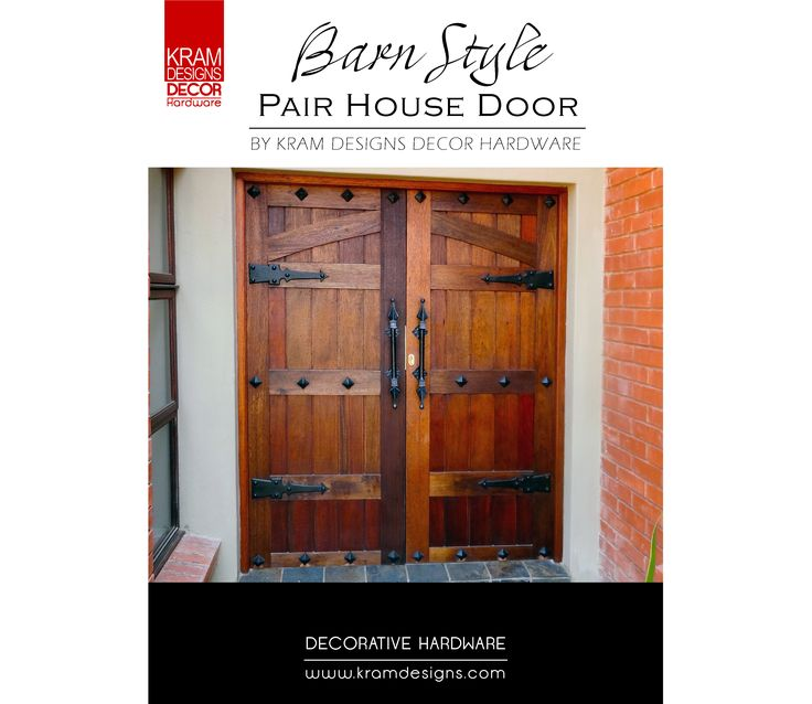 The Barn Style Pair house Door was embellished with Dungeon Hinges and Generic Square studs from Kram Designs Decor Hardware