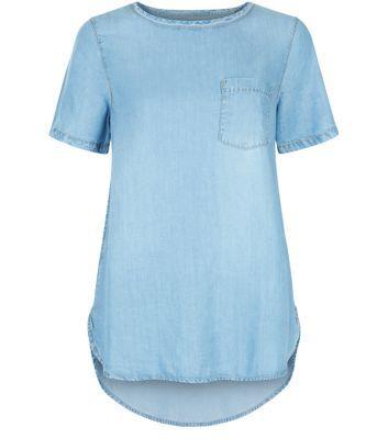 Pale Blue Denim Single Pocket Dip Hem T-Shirt