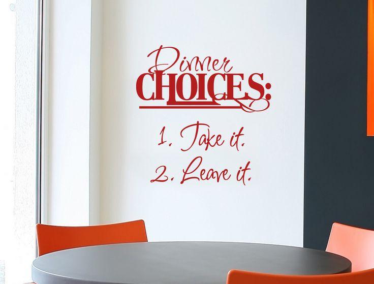 Dinner Choices Wall Sticker | Kitchen Wall Decor